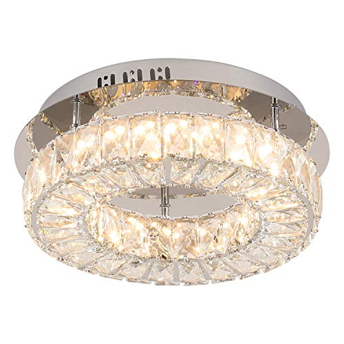 LED Semi-Flush Mount Ceiling Light Fixture 13.78 Inch Wide,Modern Luxury Dimmable Chandelier Ceiling Lamp 3000K 24W 280LM for Bedroom Foyer Entry Dining Room (Dia. 13.78 Inch)