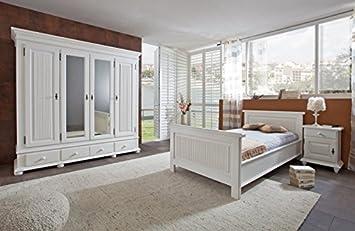 Schlafzimmer Set \'Emil\' 3-teilig Massivholz Weiß 100x200: Amazon.de ...