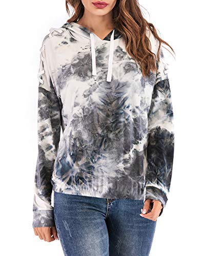 Beauhuty Womens Pullover Long Sleeve Tie Dye Print Drawstring Hoodies (Grey Tie Dye, XL) (Pink Dolphin Tie Dye Hoodie For Sale)