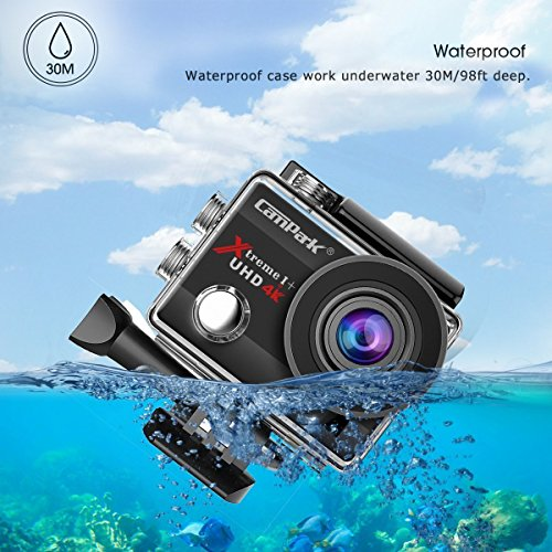 Campark ACT74 Action Camera 16MP 4K WiFi Waterproof Sports Cam 170 Degree Ultra Wide-Angle Len with 2 Pcs Rechargeable Batteries and Mounting Accessories Kits