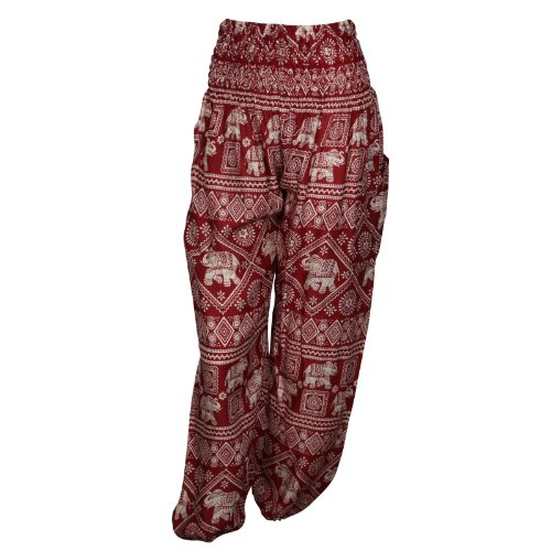 Pantalones harén–ALADDIN pantalones de Hippie con 18Diferentes diseños Elephant Red
