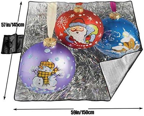 Olie Cam Coperta da Picnic con Tre Sfere Colorate per Albero di Natale con stuoia da Picnic Pieghevole Impermeabile a Mano
