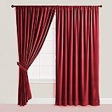 Doublewide VELVET CURTAIN Blackout Drape - BURGUNDY Color , Lined Curtain Drapes made from 100% COTTON VELVET Theater| Bedroom| Living Room| Hotel | Room Darkening, Sound Lessen (100 x 84)