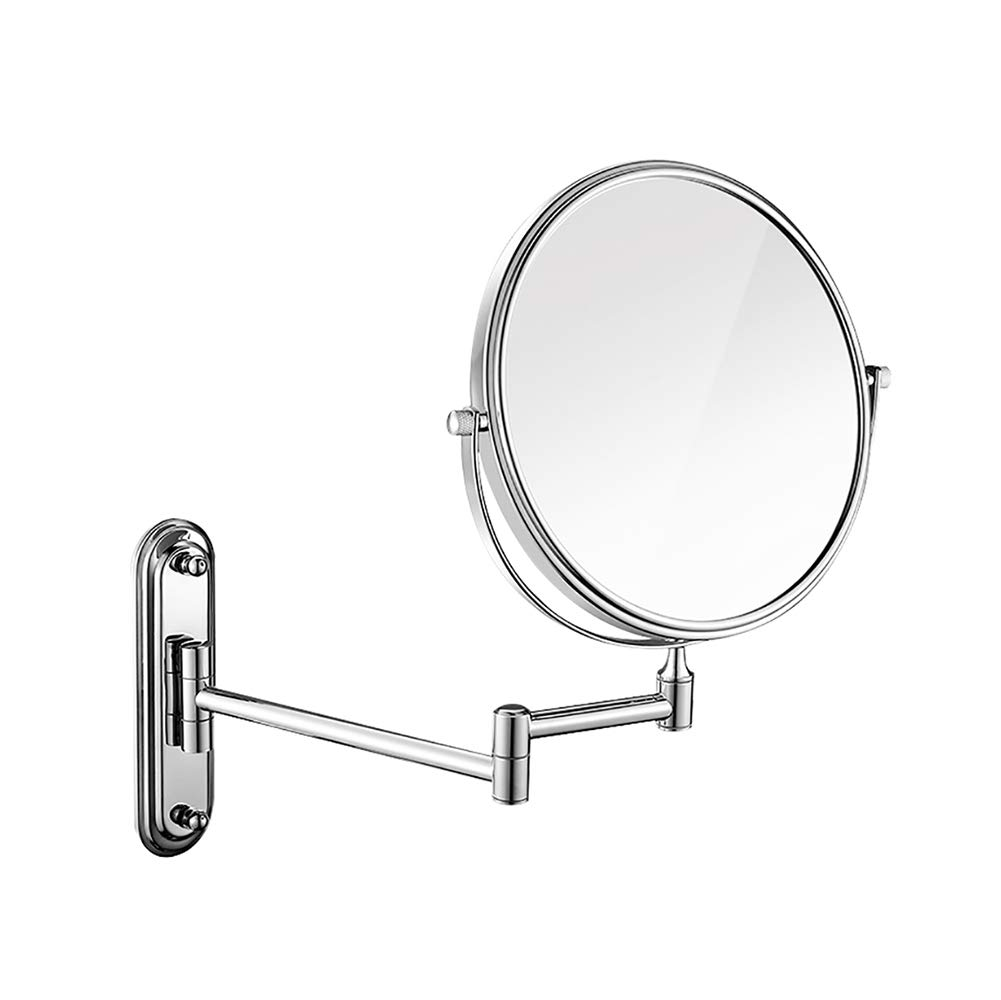 Makeup Mirror Folding Bathroom Wall-mounted Double-sided Vanity Mirror Toilet Wall Hanging Magnifying Beauty Mirror (Color : Stainless steel, Size : 6 inches)