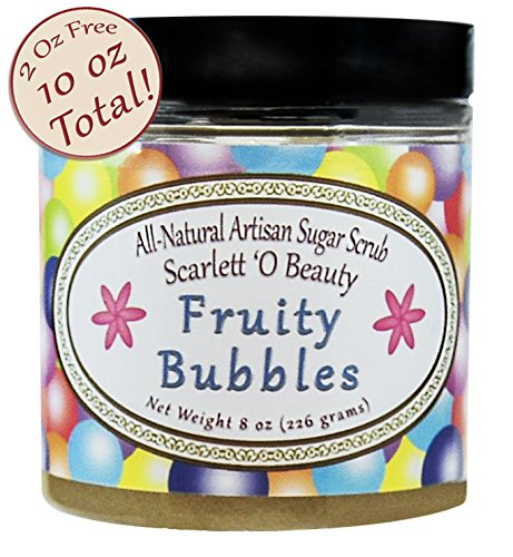 Fruity Bubbles (Bubble Gum) Organic Sugar Scrub – 2 Free Ounces! All-Natural, Vegan, Fair-Trade Body Scrub Loaded with Our Unique Blend of Premium-Quality Oils for Glowing Baby-Soft Skin – 10 oz
