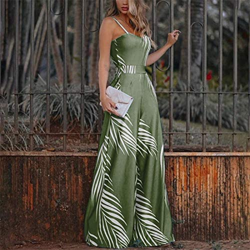 B2keevin Fashion Women Casual Sleeveless Sling Ladies Bandage Printed Long Jumpsuit