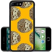 Luxlady Premium Apple iPhone 7 Plus Aluminum Backplate Bumper Snap Case iPhone7 Plus IMAGE ID: 43219559 Sketch cute hedgehog in vintage style vector seamless pattern