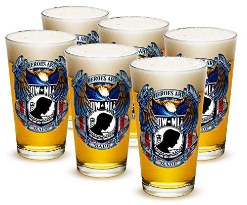 Pint Glasses – American Hero's Gifts for Men or Women – POW True Heroes American Beer Glassware – American Soldier Beer Glass with Logo - Set of 24 (16 Oz)