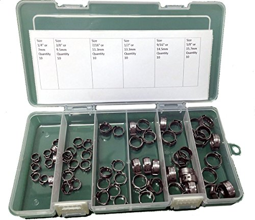 Oetiker Stepless OET070157-60PCK Clamp Assortment Case, Ear Clamps, Single Ear Hose Clamps without Pincers, 1/4'- 5/8' (Pack of 60)
