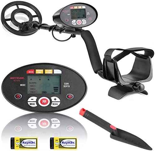 Metal Detector Meterk Metal Detectors for Adults and Kids, Adjustable Metal Detector with Higher Accuracy, DISC & Pinpoint Modes, Waterproof Coil, LCD Display - Shovel and Batteries Included