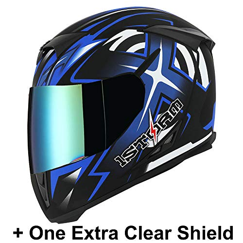 1STorm Motorcycle Full Face Helmet Star King Matt Blue+ One Extra Clear Shield, Size X-Large Size XL (59-60 CM,23.2/23.6 - Motorcycle Helmet Face Full Blue