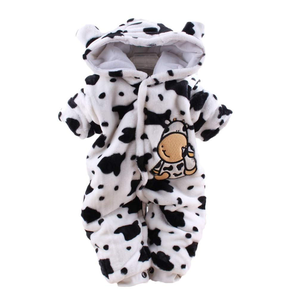 MODOQO Newborn Unisex Babys Hooded Romper Cartoon Dairy Cow Jumpsuit Outfits