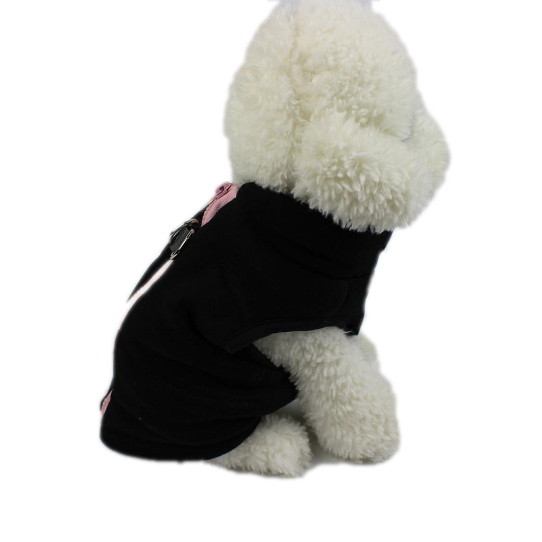 Howstar Pet Clothes, Puppy Hoodie Coat Cute Winter Warm Soft Dog Apparel (S, Black)