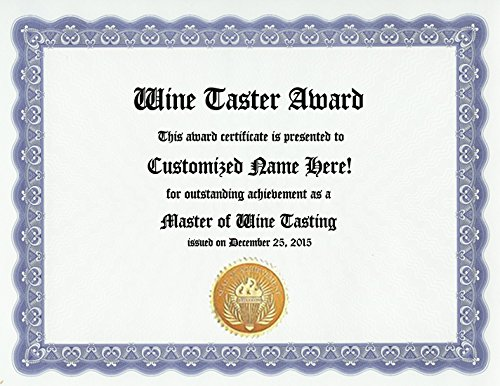 (Wine Tasting Wine Taster Award: Personalized Custom Wine Lover Drinking Award Certificate for Wine Loving Friends or Wine Drinker, Fans, Enthusiasts and Vino Aficionados (Funny Customized Present Joke Gift - Unique Novelty Item))