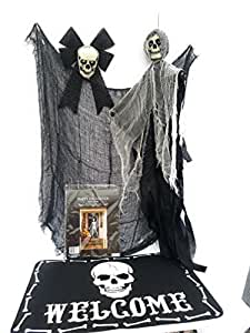 Scary Halloween Decorations - Skull Porch Set with Black Skull Bow, Ghoul, Welcome Mat, Creepy Cloth & Door Cover