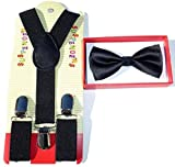 Brand New 2015 Kids Unisex Fashion Black Suspenders Bow Tie Combo