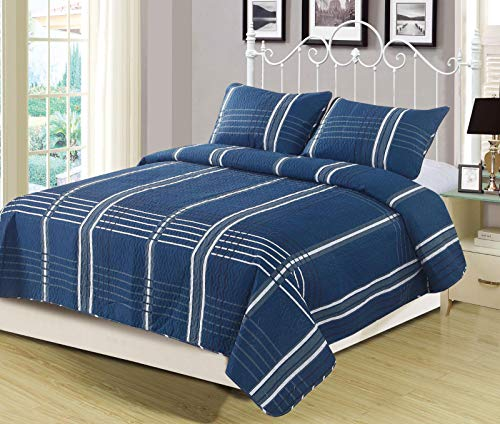 unbrand Navy Stripe Plaid Checkered Quilt Bedding Set Blue Grey and White Size Queen from unbrand