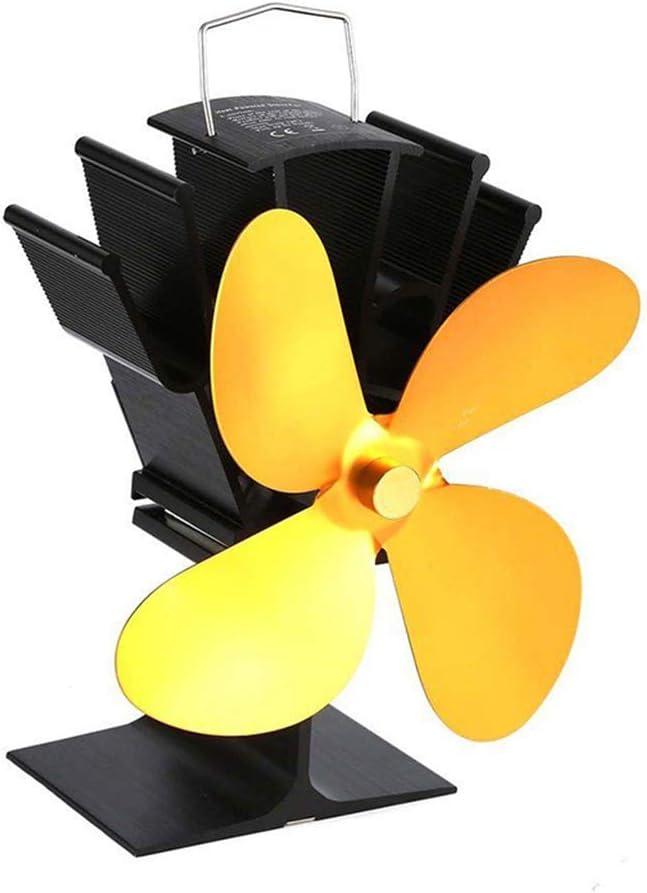 Lifet - Ventilador para chimenea (4 hojas, respetuoso con el medio ambiente, para hornos de leña, color negro, marrón, dorado, gris) dorado