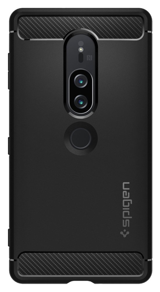 Spigen Rugged Armor Xperia XZ2 Premium Case with Flexible and Durable Shock Absorption with Carbon Fiber Design for Sony Xperia XZ2 Premium (2018) - Black