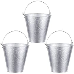 Juvale Set of 3 Small Round Galvanized Buckets - Buckets with Handle, Iron Beer Buckets for Parties, Metal Pails, Silver - 7.2 x 7.2 x 7.2 Inches