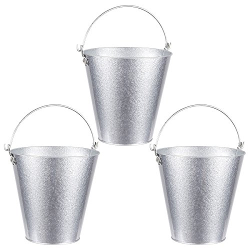 Set of 3 Small Round Galvanized Buckets - Buckets with Handle, Iron Beer Buckets for Parties, Metal Pails, Silver - 7.2 x 7.2 x 7.2 Inches