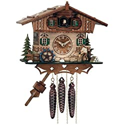 River City Clocks One Day Musical Cottage Cuckoo Clock with Woodchopper and Waterwheel