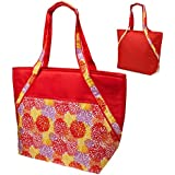 Super Sachi Hot/Cold 50-Can Insulated Cooler Picnic Lunch Tote Bag #Red Floral