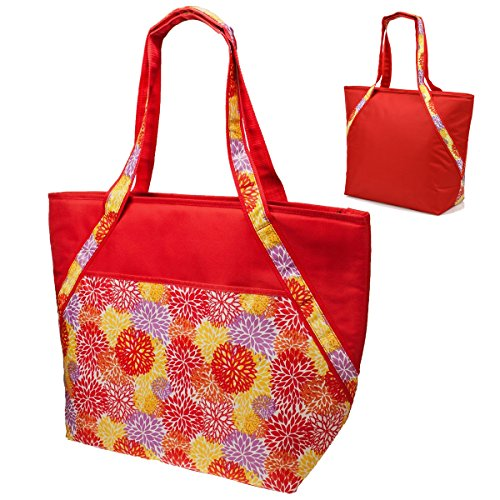 super-sachi-hot-cold-50-can-insulated-cooler-picnic-lunch-tote-bag-red-floral