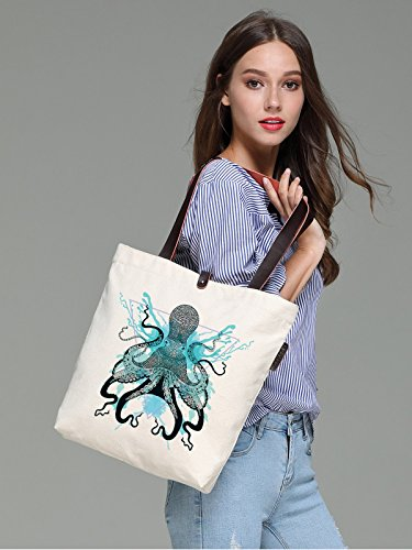 So'each Women's Ocean Octopus Graphic Canvas Handbag Tote Shoulder Bag