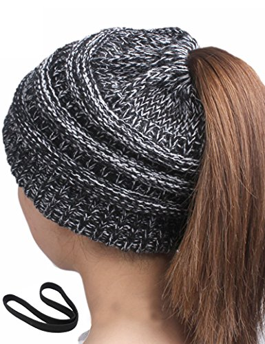 Lujuny Knit Ponytail Beanie Hat – Women Winter Skull Cap With Sport Headband (Black White) (Headband Tail Scarf)