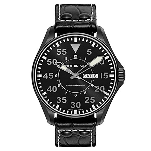 - Hamilton Men's H64785835 Khaki King Pilot Black Dial Watch