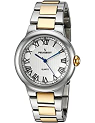 Peugeot Womens Silver Quartz Metal and Alloy Dress Watch, Color:Two Tone (Model: 7086TT)