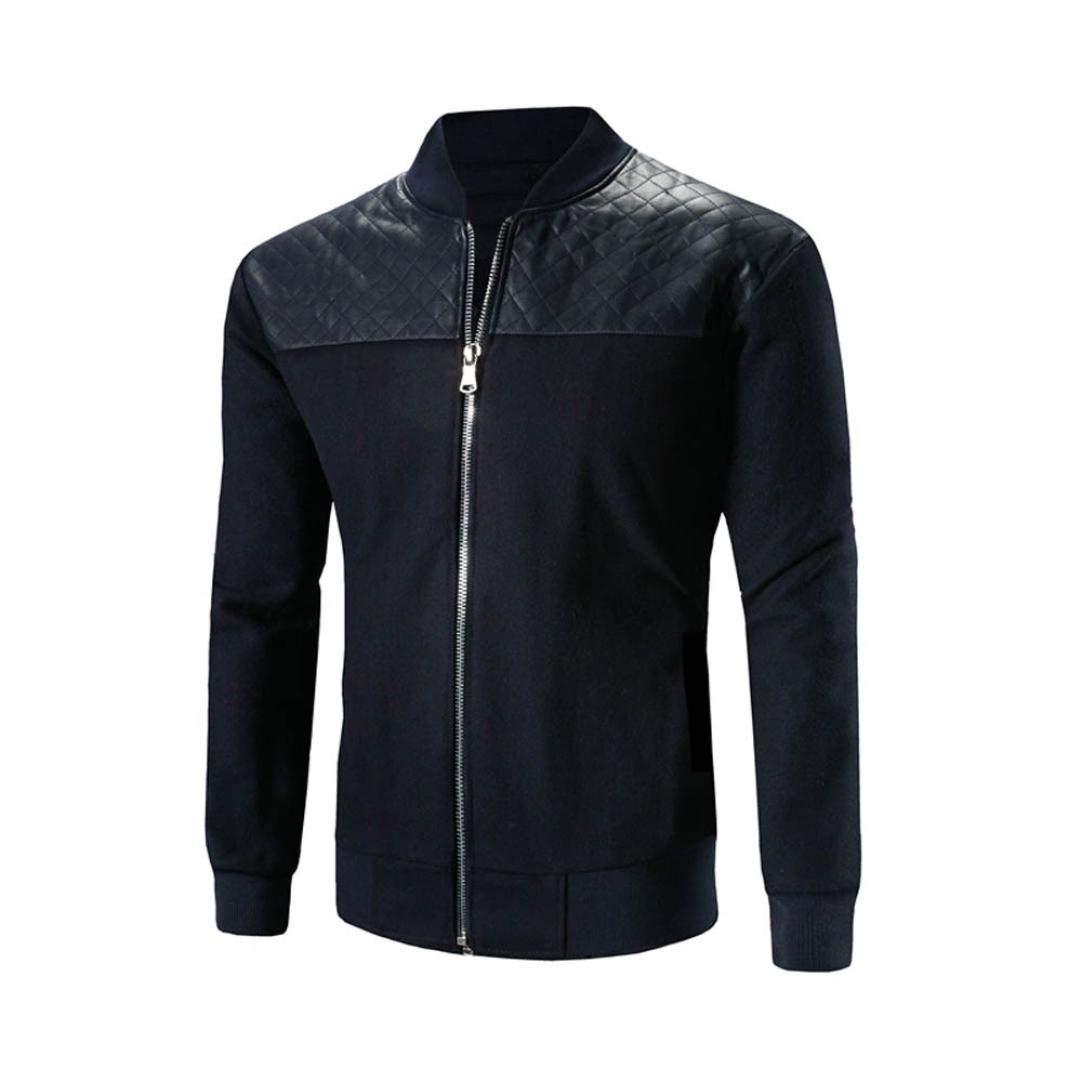Sharemen Zipper Jacket Men's Autumn Winter Stand Neck Patchwork Coat