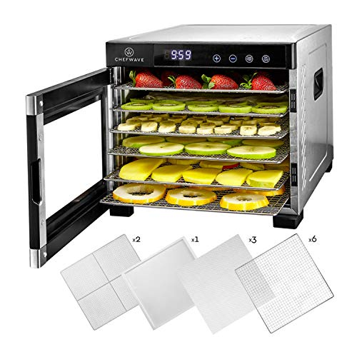 ChefWave 6 Tray Food Dehydrator Machine - Stainless Steel, Digital Temperature Control & Timer, 3 Teflon Sheets, 2 Mesh Sheets and Drip Tray - for Dried Fruit, Jerky, Herbs - Recipe Book Included