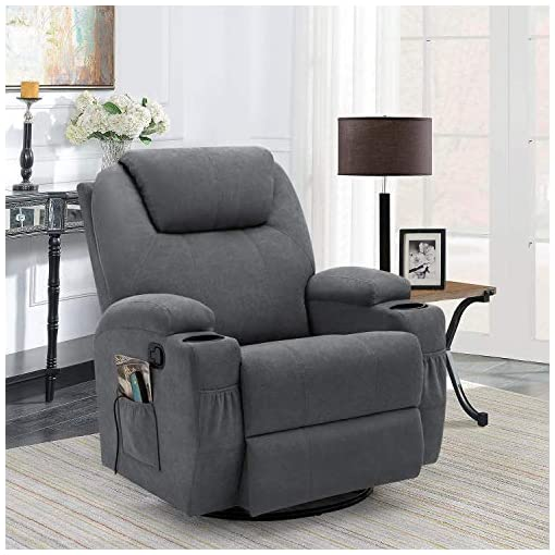 Living Room Flamaker Rocking Chair Recliner Chair with Massage and Heating 360 Degree Swivel Ergonomic Lounge Chair Classic Single…