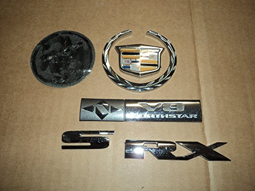 Cadillac Deville Northstar - 04 Cadillac Deville SRX V8 Northstar Rear Trunk Lid Crown Wreath Used Emblem Badge Ornament Chrome Logo Nameplate Sticker Set