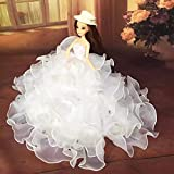 Lanlan 1 PCS Luxurious Multi layer Frill Edge Strapless Floor Length Wedding Party Gown Dress With Hat For Barbie Doll Clothing Shoes Accessories Kids Gift White offers