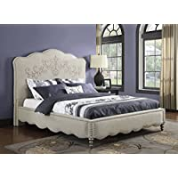 Emerald Home B198-12-K Fantasia Upholstered Linen/Grey Bed Kit, King, Zenda Cream