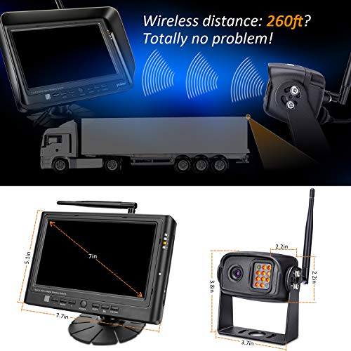 Digital-Wireless-Backup-Camera-System-Kit-IP69K-Waterproof-Wireless-Rear-View-Camera-7-LCD-Wireless-Reversing-Monitor-for-Trailer-RV-Bus-Trucks-Horse-trailer-School-Bus-Farm-Machineetc