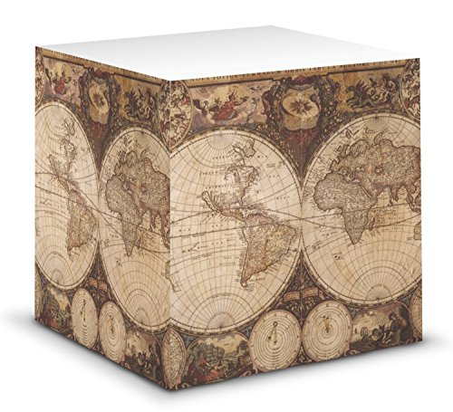 Vintage World Map Sticky Note Cube (World Map Sticky Notes)