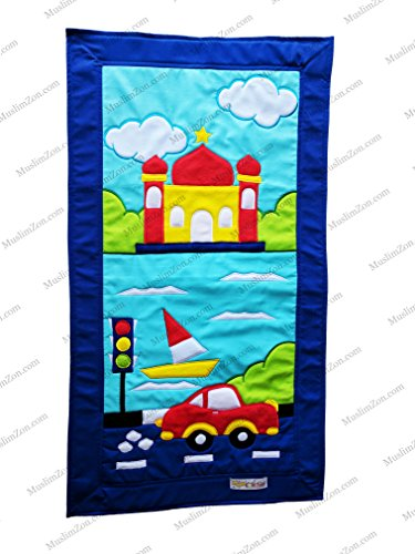 MY LITTLE PRAYER RUGS FOR MUSLIM KIDS COLORFUL HANDMADE CHILDREN'S PRAYER SAJADAH MAT FOR BOYS  GIRLS (CAR  MOSQUE)