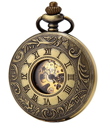 SEWOR Business Double Open Skeleton Pocket Watch Mechanical Hand Wind Movement Full Hunter Gift - Pocket Jewels 15 Watch