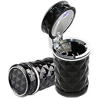 Auto Car Cigarette Ashtray, Portable Blue LED Light Car Ashtray Cup Holder with Lid, Smokeless Vehicle Cigarette Ashtray…