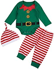 EGELEXY Christmas Outfits Infant Baby Elf Costume Long Sleeve Romper Pants Hat Costume Romper for First Christ