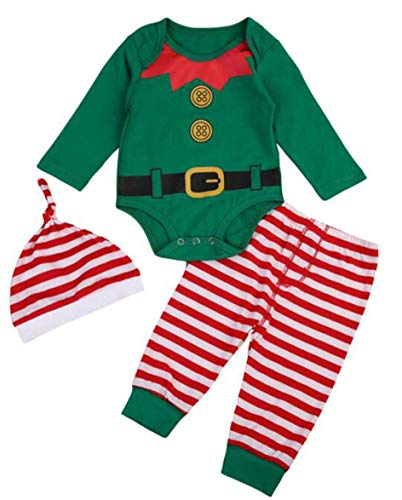 EGELEXY Baby Unisex Holiday Elf Photo Props Costume Romper Onesie Size 6-12Months/Tag80 (Style Green)