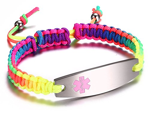 JF.JEWELRY Medical Alert ID Bracelet for Kids with Rainbow Hand Made Braided Rope Band Adjustable...