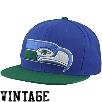 Seattle Seahawks Big Logo Blue/Green Adjustable Snapback Hat / Cap from Mitchell & Ness