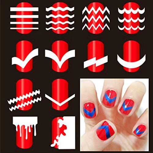 Nail Sticker - French Nail Art Tip Tape Guide Stencil Manicure Tool For Sticker Decal Decoration Diy - Nail Art Stickers 3d Silver Sticker Machine 2017 - (Halloween Nail Art Designs 2017)
