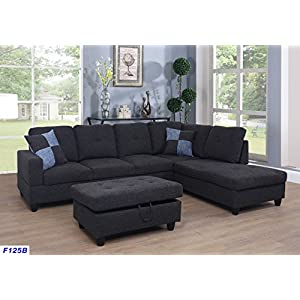 Beverly Fine Furniture Andes Microfiber with Faux Leather Sofa Set with Ottoman