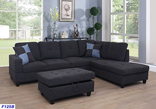 (Beverly Fine Furniture F125B Right Facing Linen Russes Sectional Sofa Set with Ottoman Dark Grey)